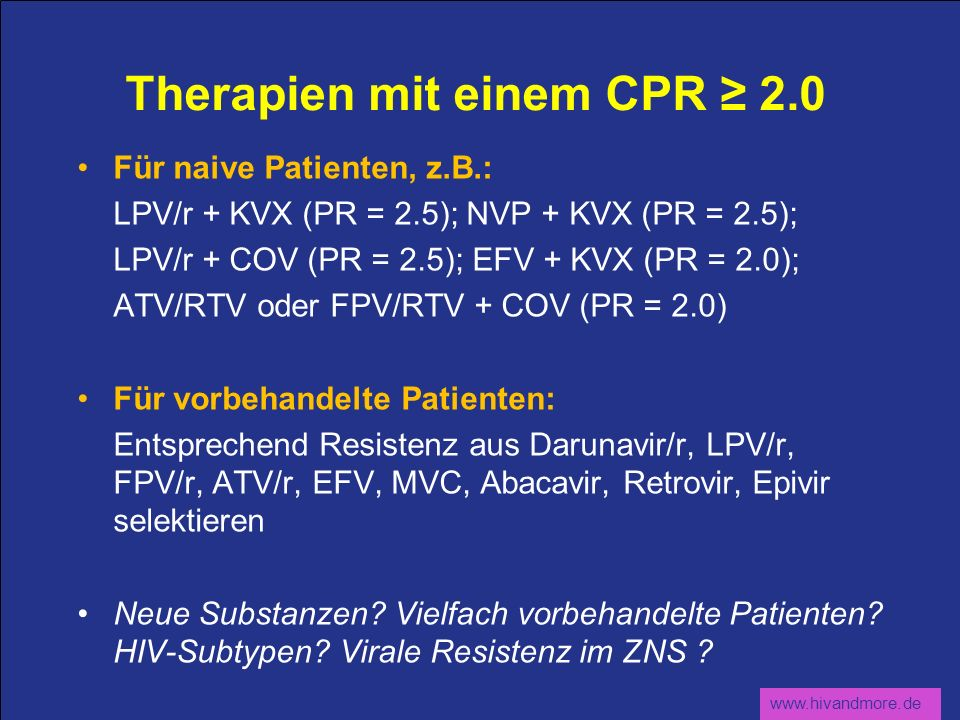 Therapien mit einem CPR ≥ 2.0
