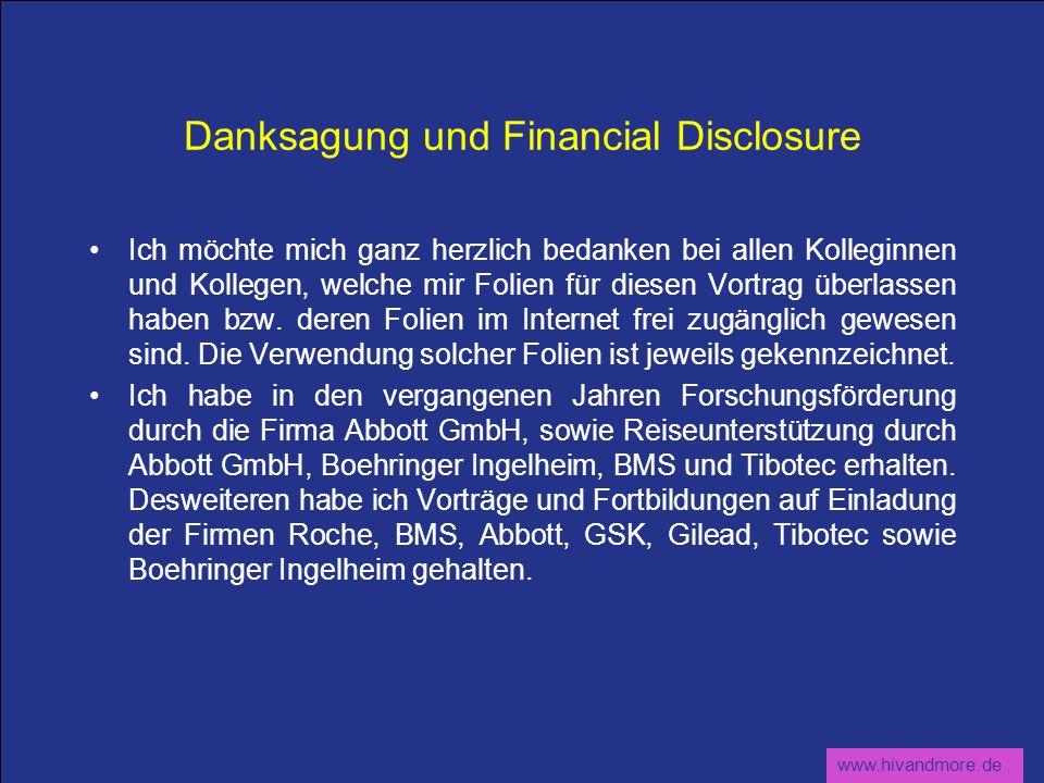 Danksagung und Financial Disclosure