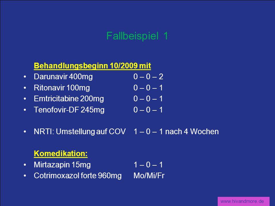Fallbeispiel 1 Behandlungsbeginn 10/2009 mit Darunavir 400mg 0 – 0 – 2