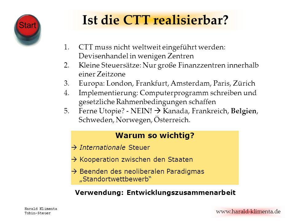 Ist die CTT realisierbar Verwendung: Entwicklungszusammenarbeit