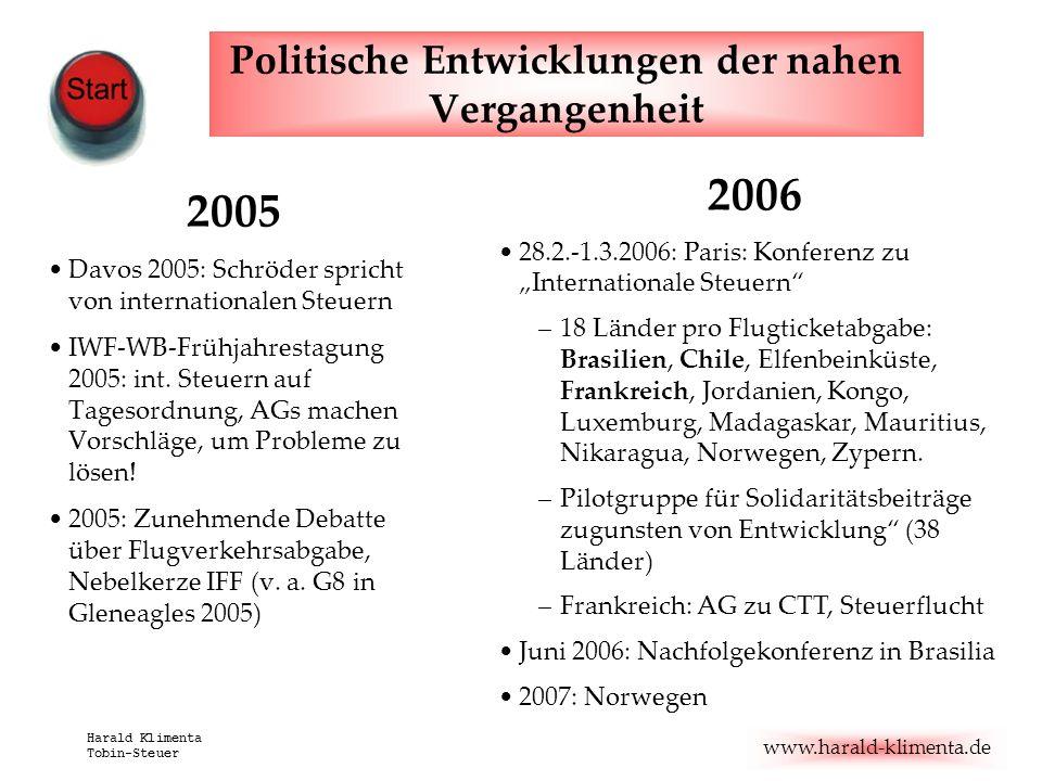 Politische Entwicklungen der nahen Vergangenheit