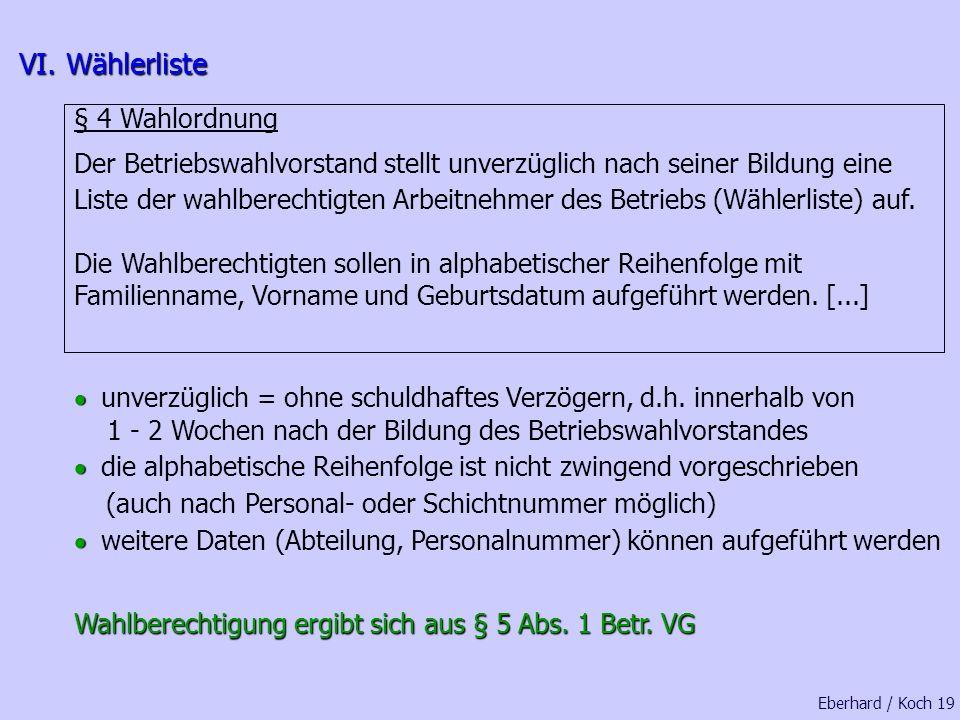 VI. Wählerliste § 4 Wahlordnung