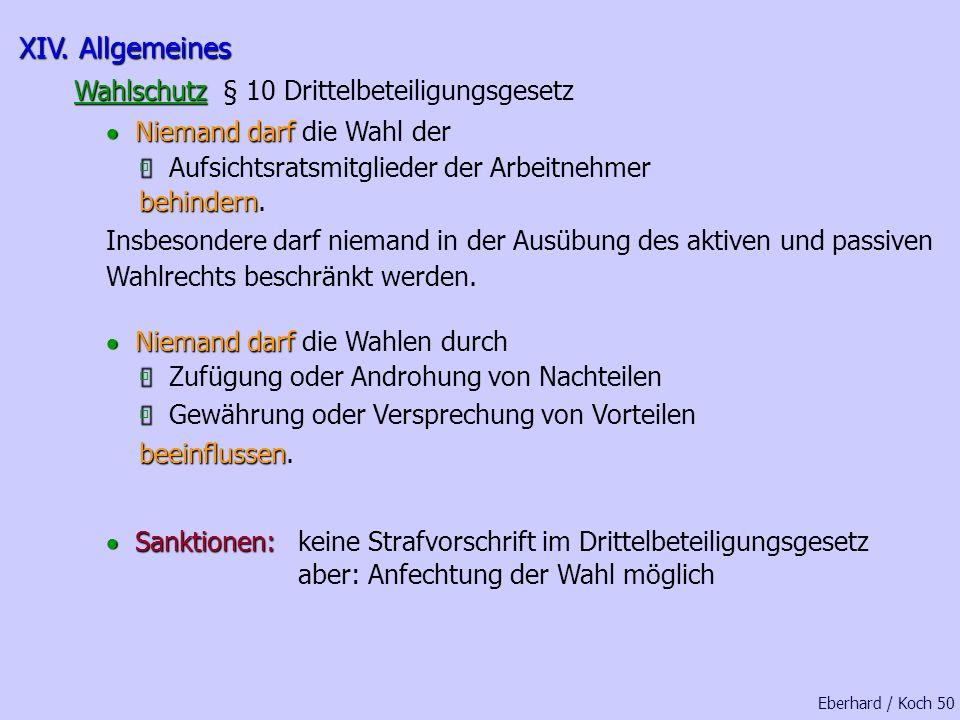 XIV. Allgemeines Wahlschutz § 10 Drittelbeteiligungsgesetz