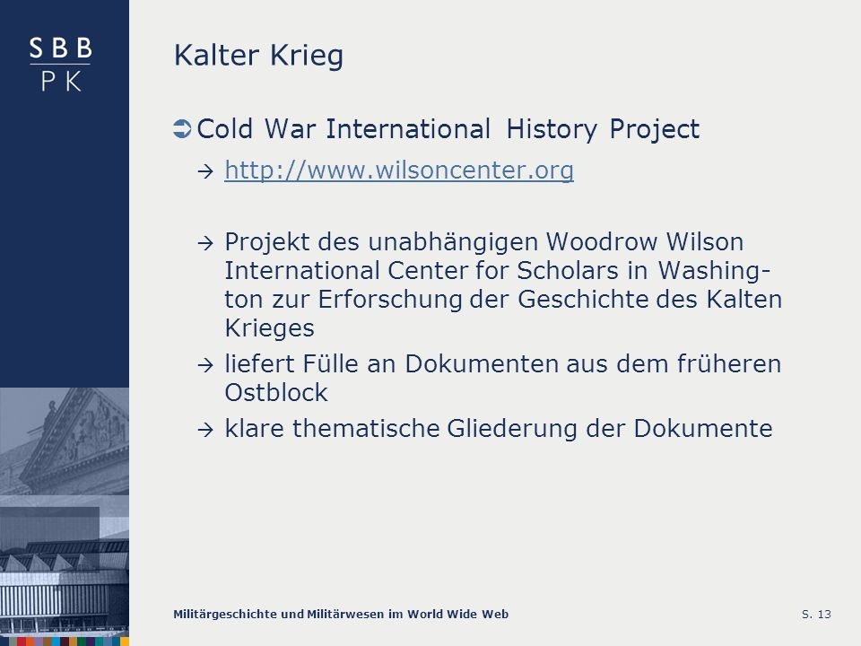 Kalter Krieg Cold War International History Project