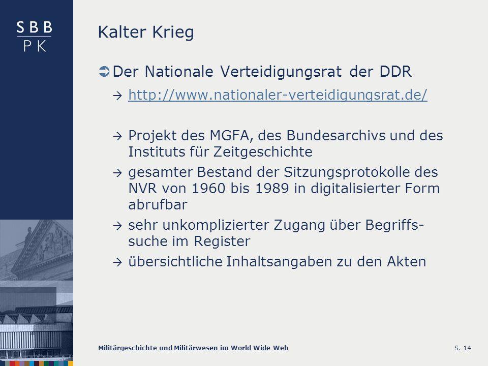 Kalter Krieg Der Nationale Verteidigungsrat der DDR