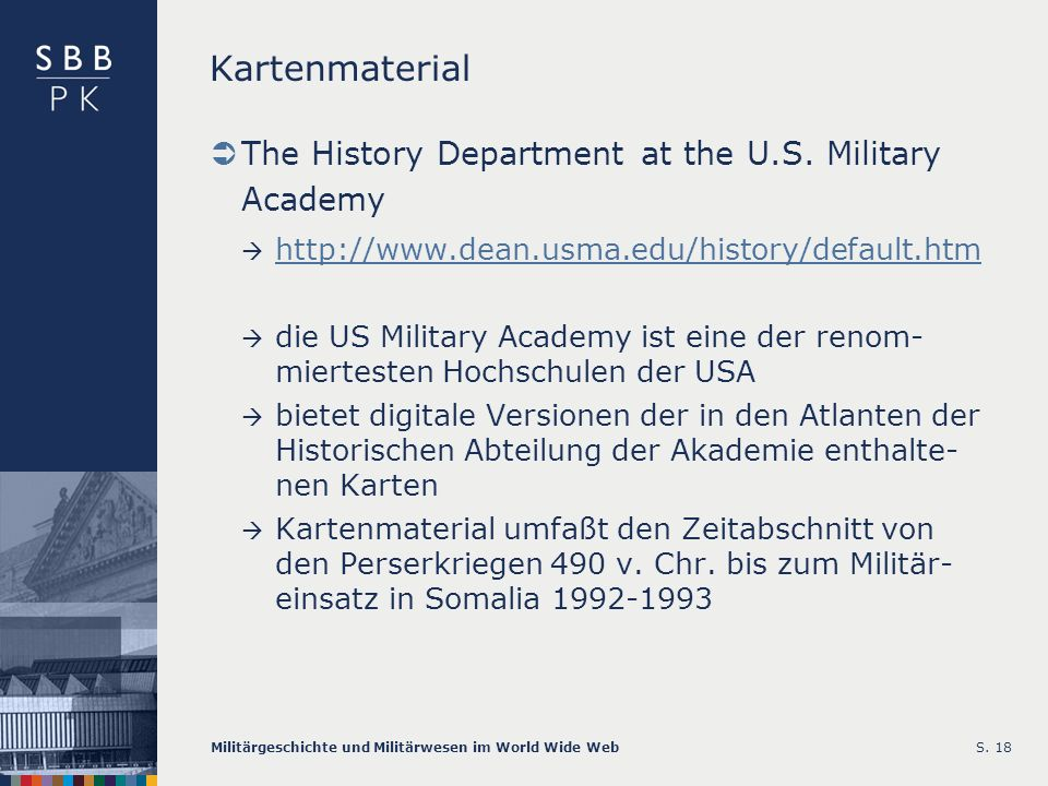 Kartenmaterial The History Department at the U.S. Military Academy