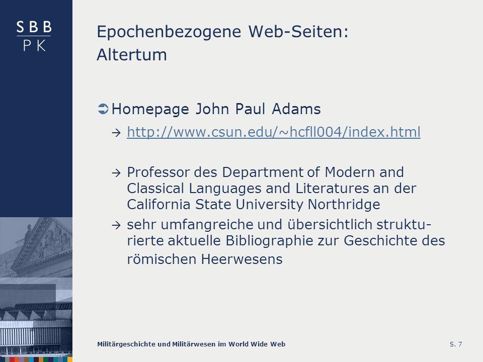 Epochenbezogene Web-Seiten: Altertum