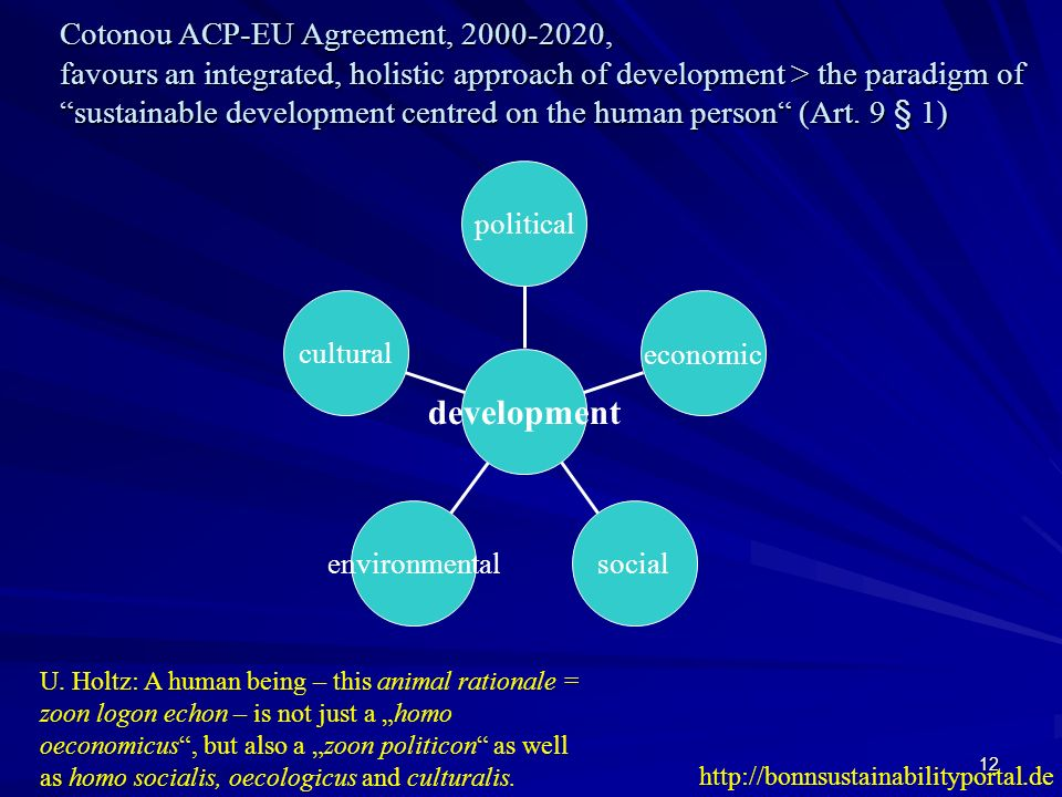 Cotonou ACP-EU Agreement, 2000-2020, favours an integrated, holistic approach of development > the paradigm of sustainable development centred on the human person (Art. 9 § 1)
