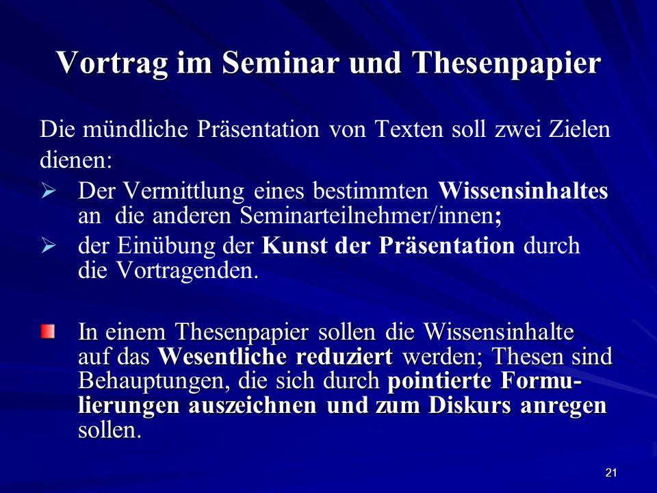 Vortrag im Seminar und Thesenpapier