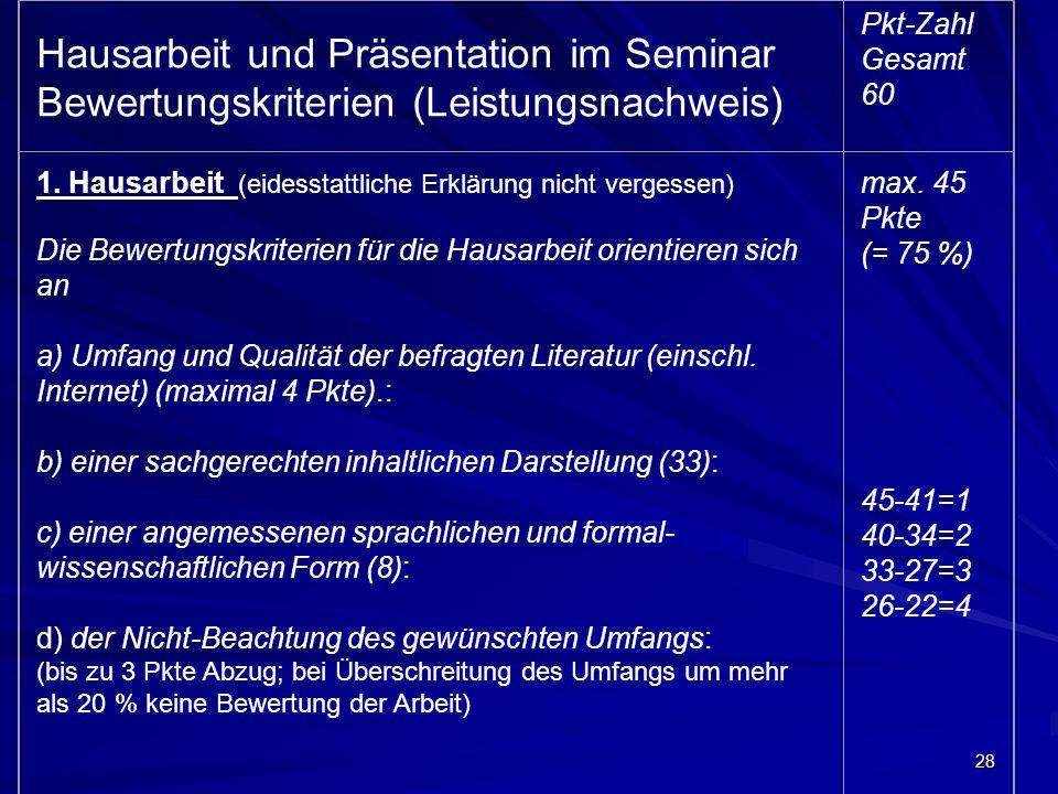 Hausarbeit und Präsentation im Seminar