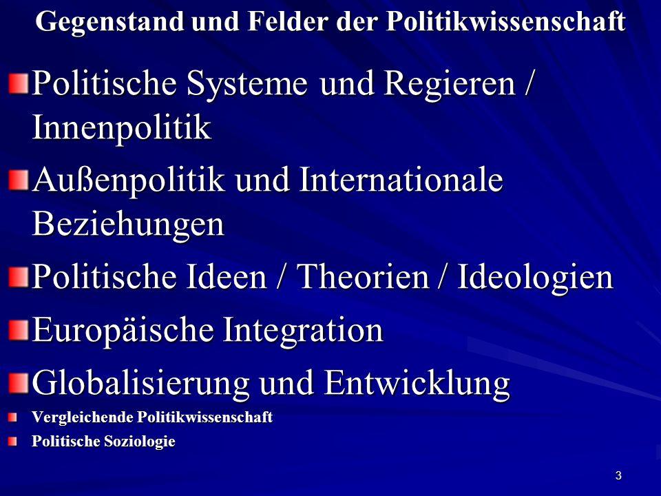Gegenstand und Felder der Politikwissenschaft