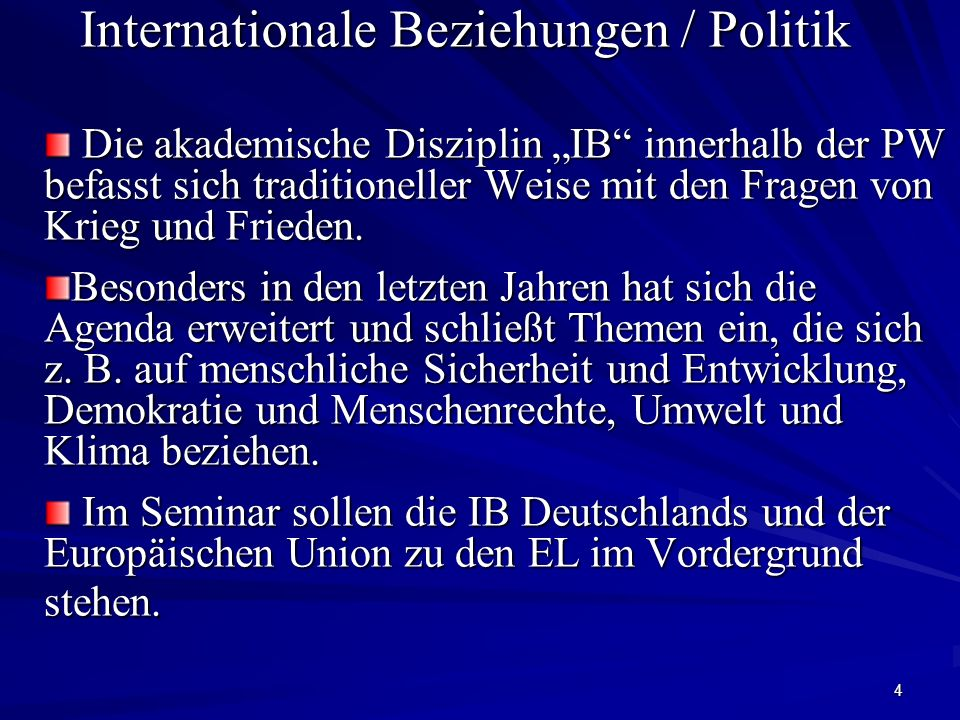 Internationale Beziehungen / Politik
