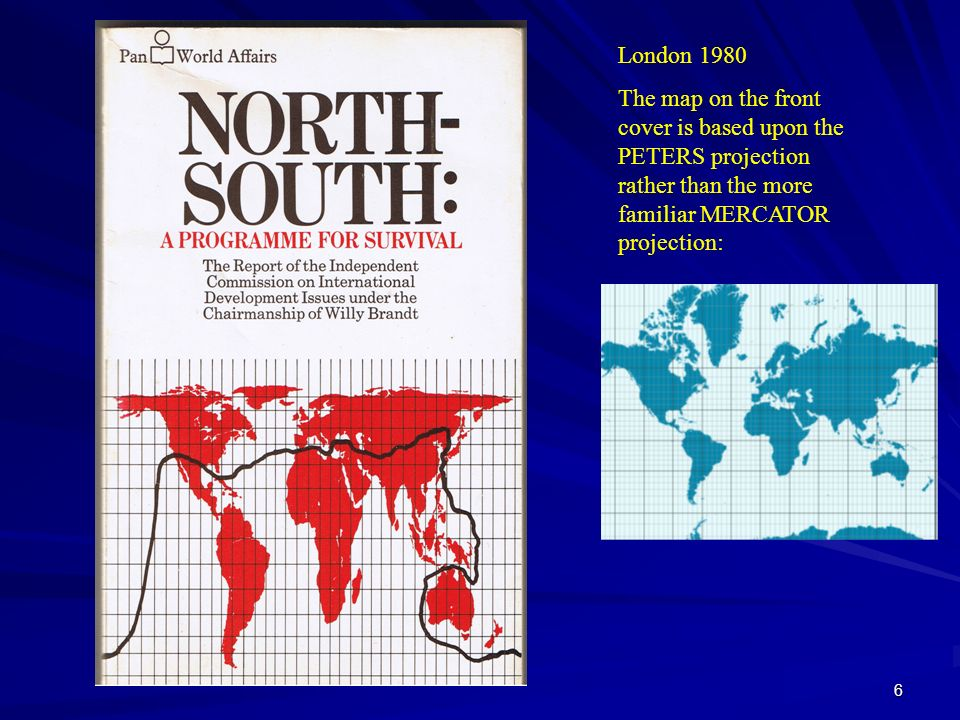 London 1980The map on the front cover is based upon the PETERS projection rather than the more familiar MERCATOR projection: