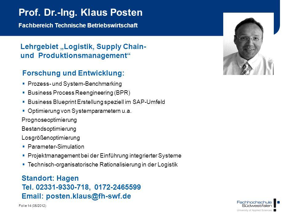 Prof. Dr.-Ing. Klaus Posten Fachbereich Technische Betriebswirtschaft