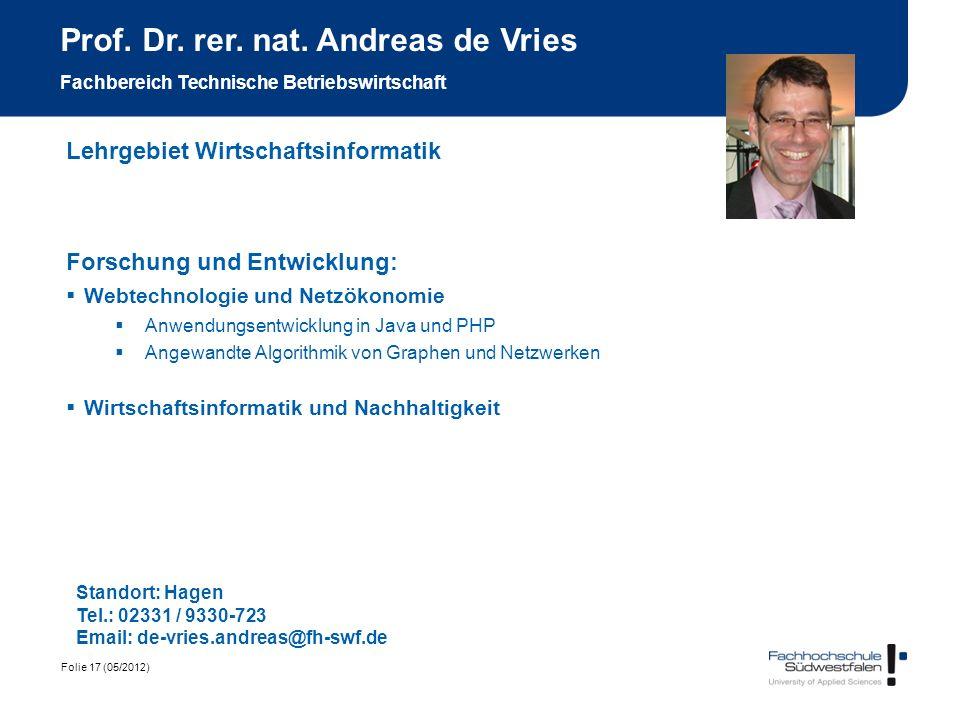 Prof. Dr. rer. nat. Andreas de Vries Fachbereich Technische Betriebswirtschaft
