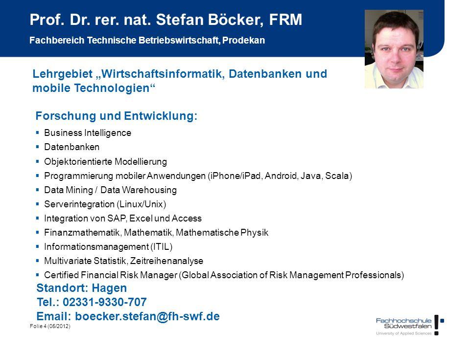 Prof. Dr. rer. nat. Stefan Böcker, FRM Fachbereich Technische Betriebswirtschaft, Prodekan