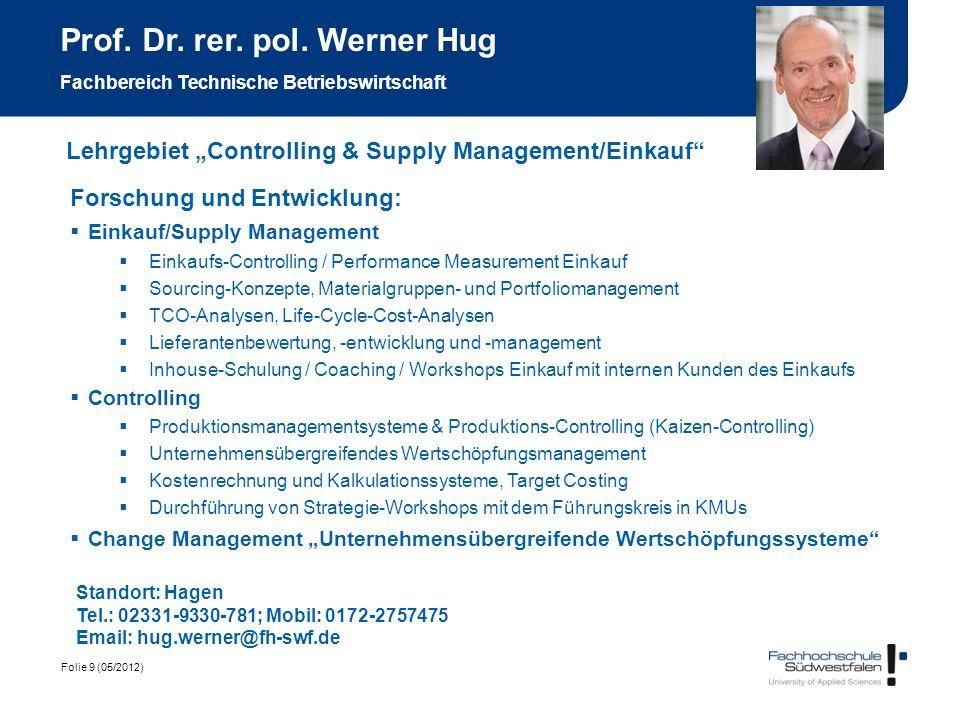 Prof. Dr. rer. pol. Werner Hug Fachbereich Technische Betriebswirtschaft