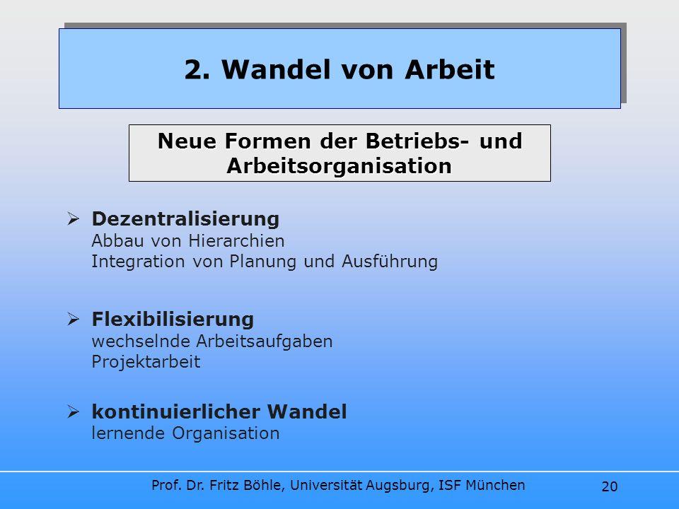 Neue Formen der Betriebs- und Arbeitsorganisation