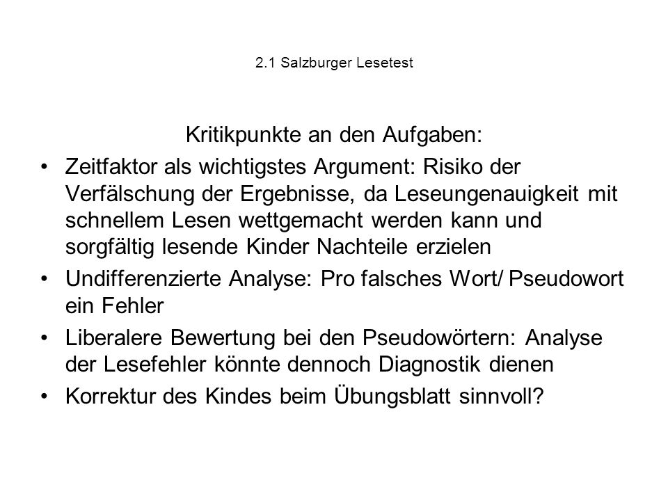 Kritikpunkte an den Aufgaben: