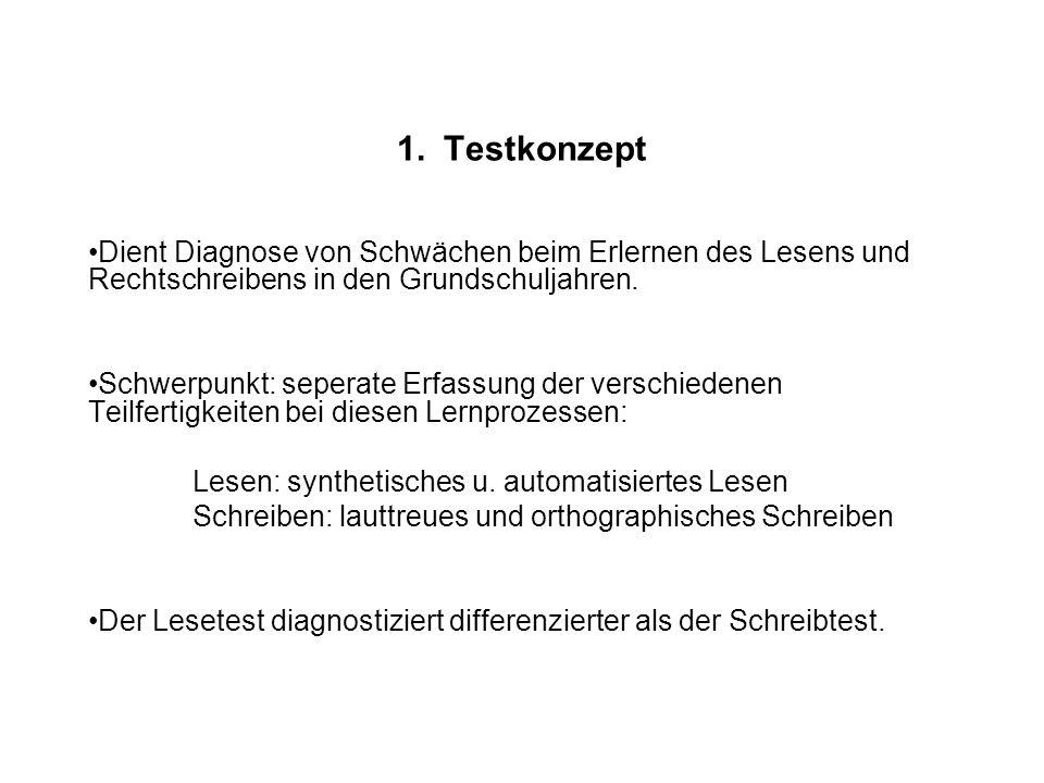 1. Testkonzept Dient Diagnose von Schwächen beim Erlernen des Lesens und Rechtschreibens in den Grundschuljahren.