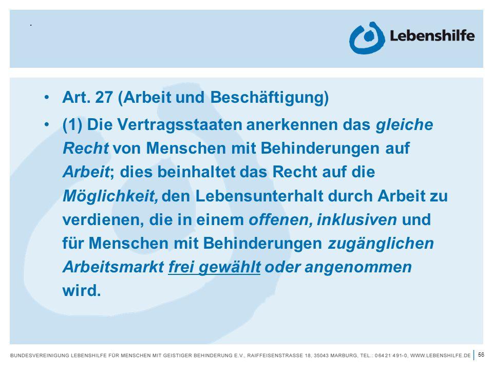 Art. 27 (Arbeit und Beschäftigung)