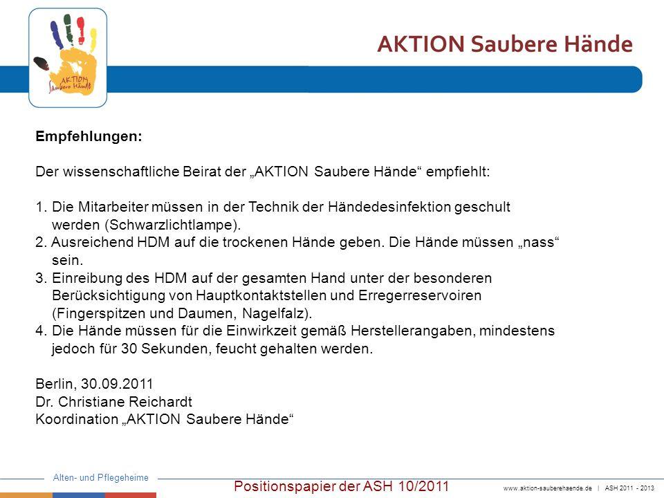 """Empfehlungen: Der wissenschaftliche Beirat der """"AKTION Saubere Hände empfiehlt:"""