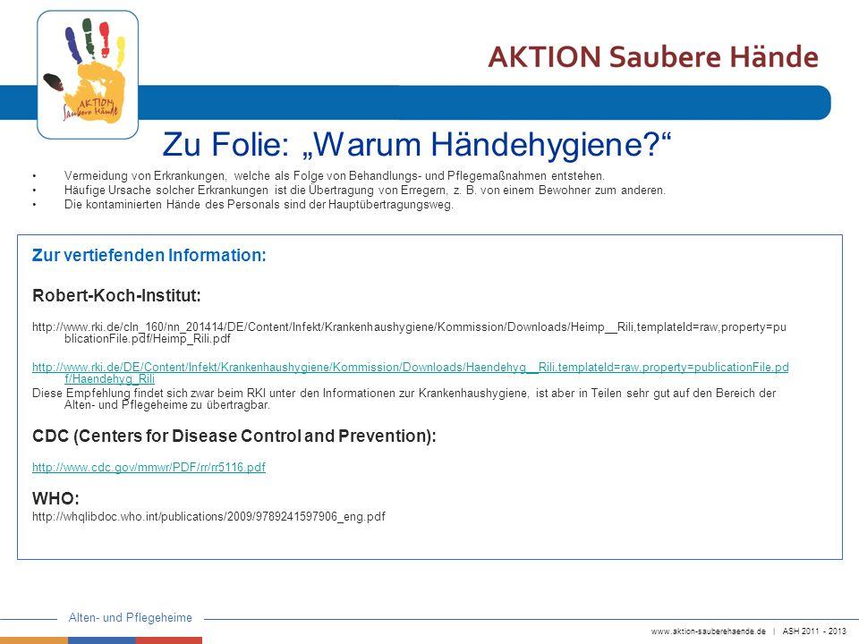 """Zu Folie: """"Warum Händehygiene"""