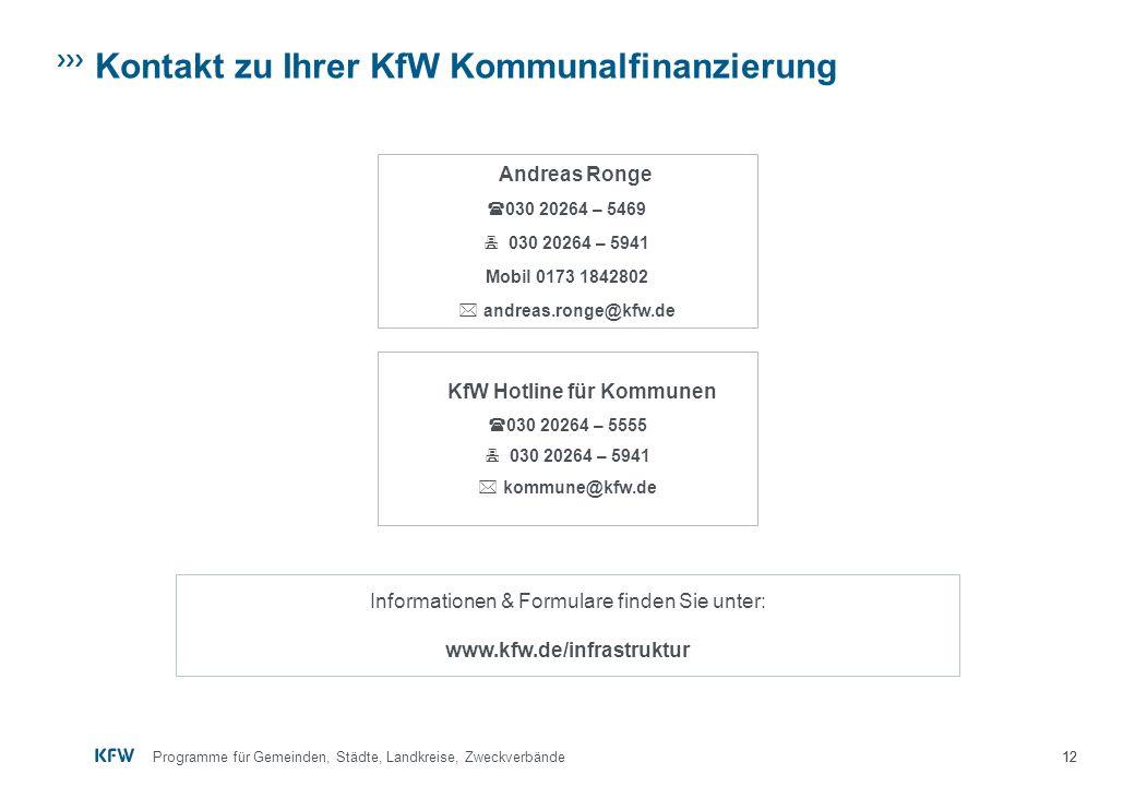 Kontakt zu Ihrer KfW Kommunalfinanzierung