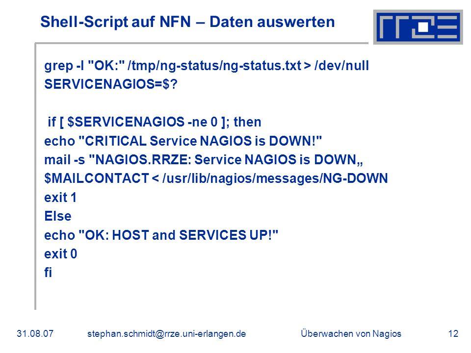 Shell-Script auf NFN – Daten auswerten