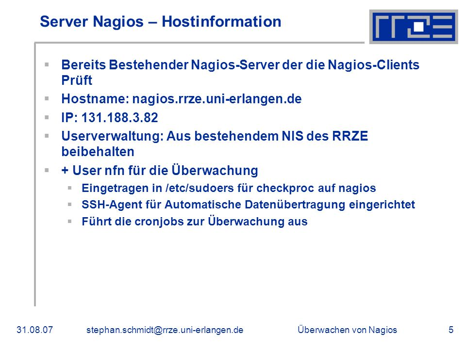 Server Nagios – Hostinformation