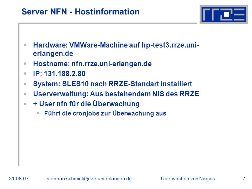 Server NFN - Hostinformation
