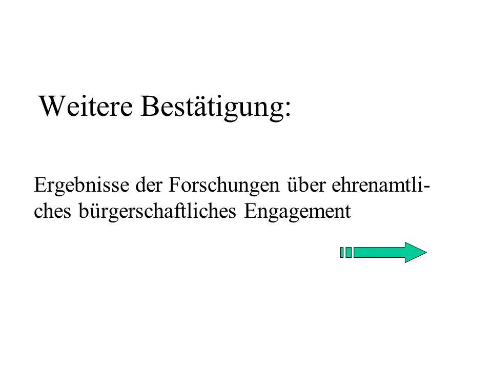 Weitere Bestätigung: Ergebnisse der Forschungen über ehrenamtli-ches bürgerschaftliches Engagement