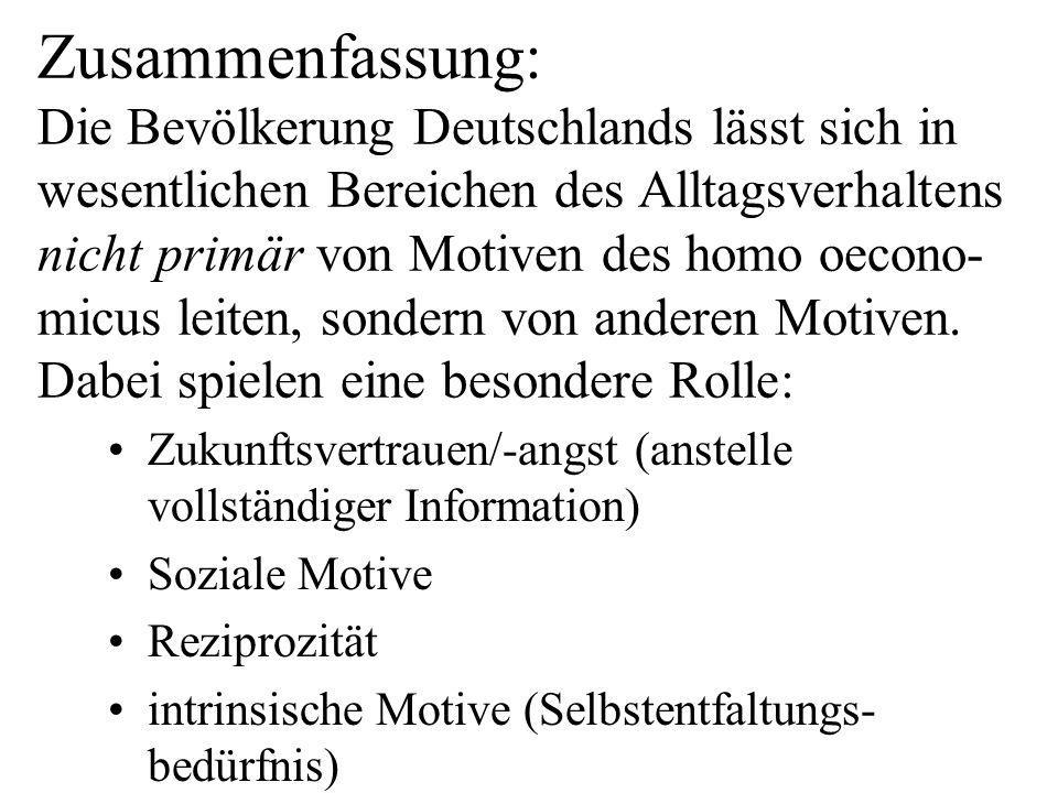 Zusammenfassung: Die Bevölkerung Deutschlands lässt sich in wesentlichen Bereichen des Alltagsverhaltens nicht primär von Motiven des homo oecono-micus leiten, sondern von anderen Motiven. Dabei spielen eine besondere Rolle: