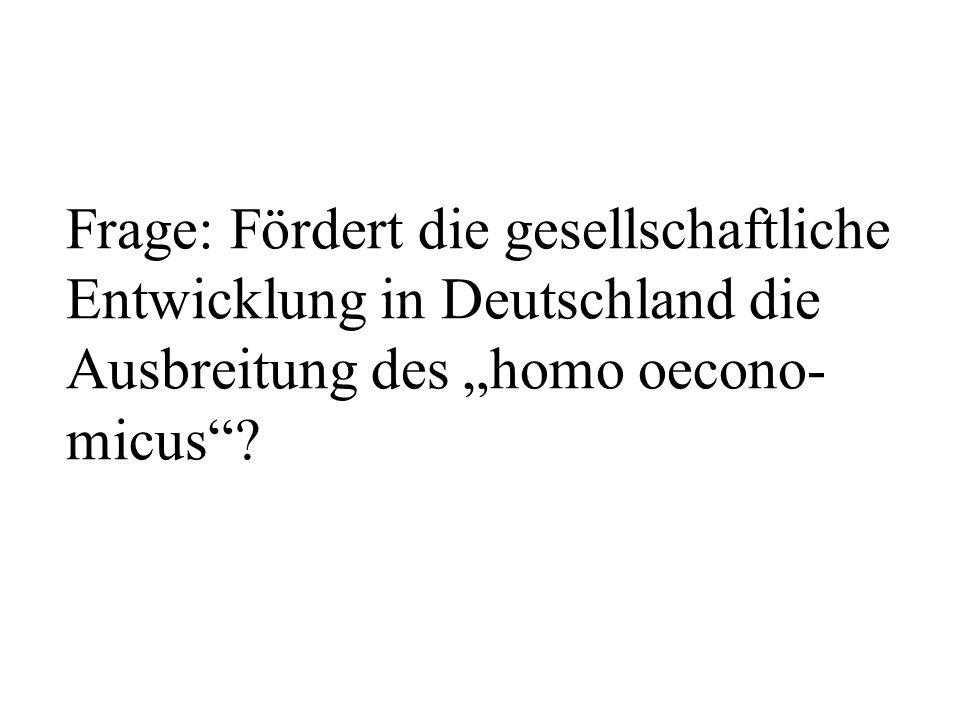 """Frage: Fördert die gesellschaftliche Entwicklung in Deutschland die Ausbreitung des """"homo oecono-micus"""