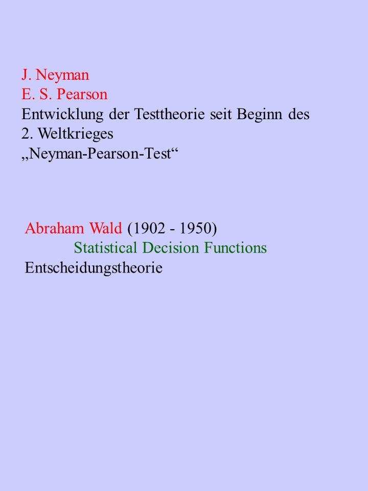 """J. Neyman E. S. Pearson. Entwicklung der Testtheorie seit Beginn des. 2. Weltkrieges. """"Neyman-Pearson-Test"""