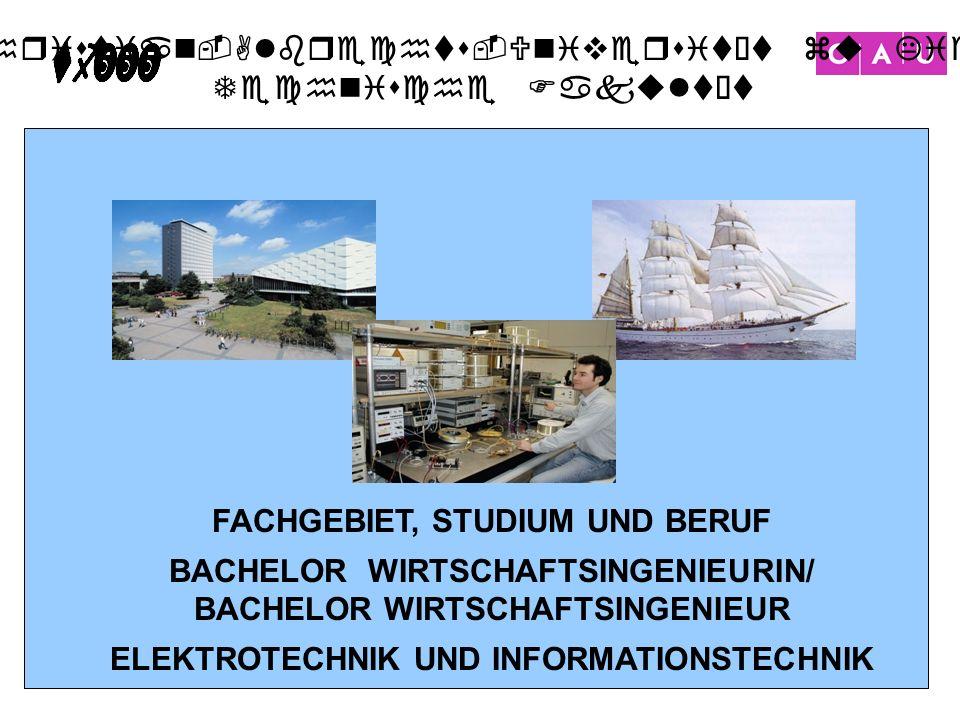 FACHGEBIET, STUDIUM UND BERUF BACHELOR WIRTSCHAFTSINGENIEURIN/