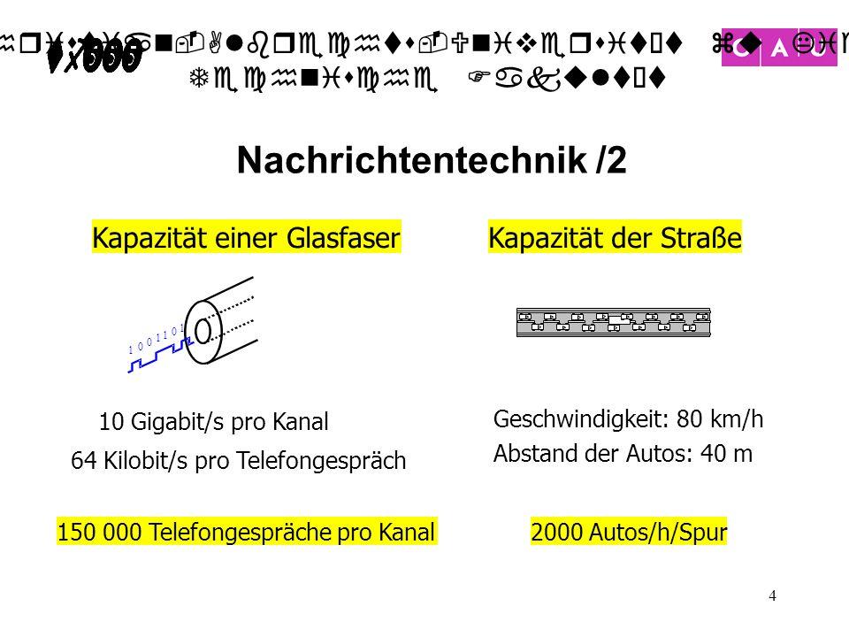 Nachrichtentechnik /2 Kapazität einer Glasfaser Kapazität der Straße