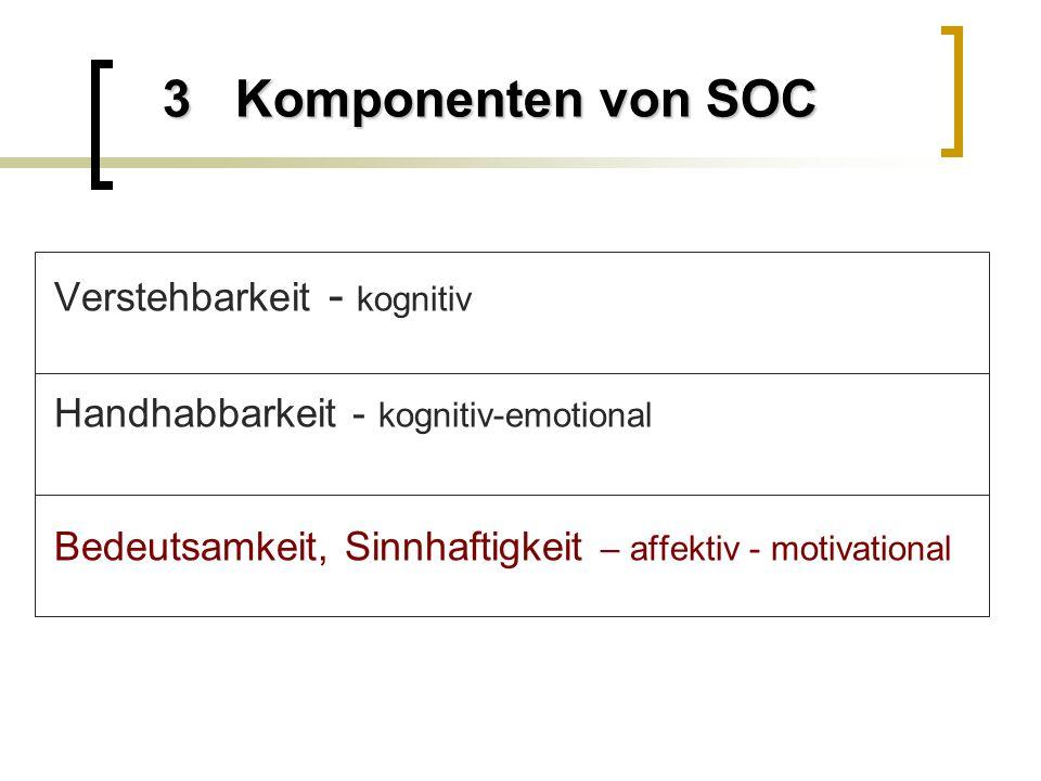 3 Komponenten von SOC Verstehbarkeit - kognitiv