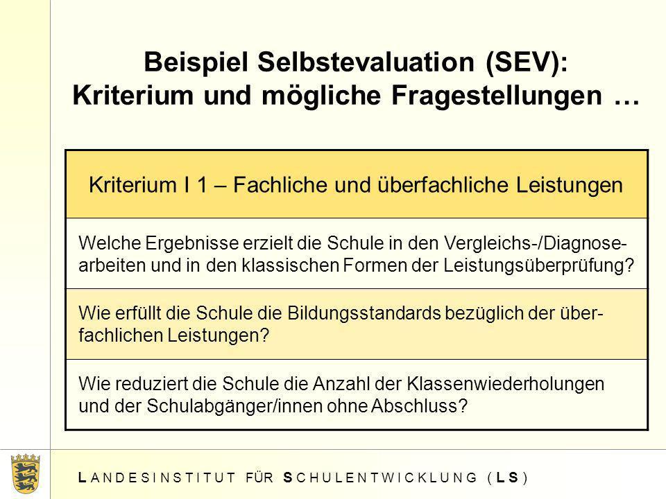 Beispiel Selbstevaluation (SEV): Kriterium und mögliche Fragestellungen …
