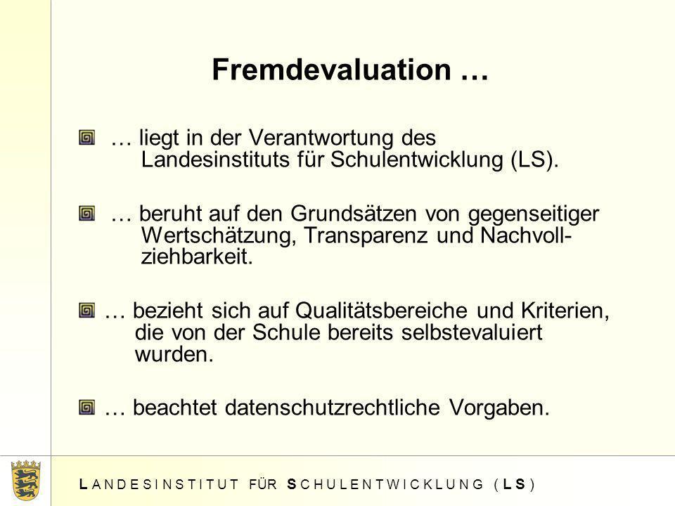 Fremdevaluation … … liegt in der Verantwortung des Landesinstituts für Schulentwicklung (LS).