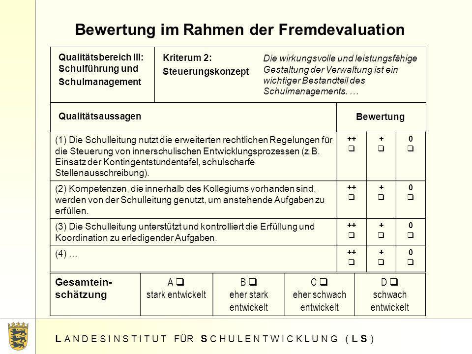 Bewertung im Rahmen der Fremdevaluation