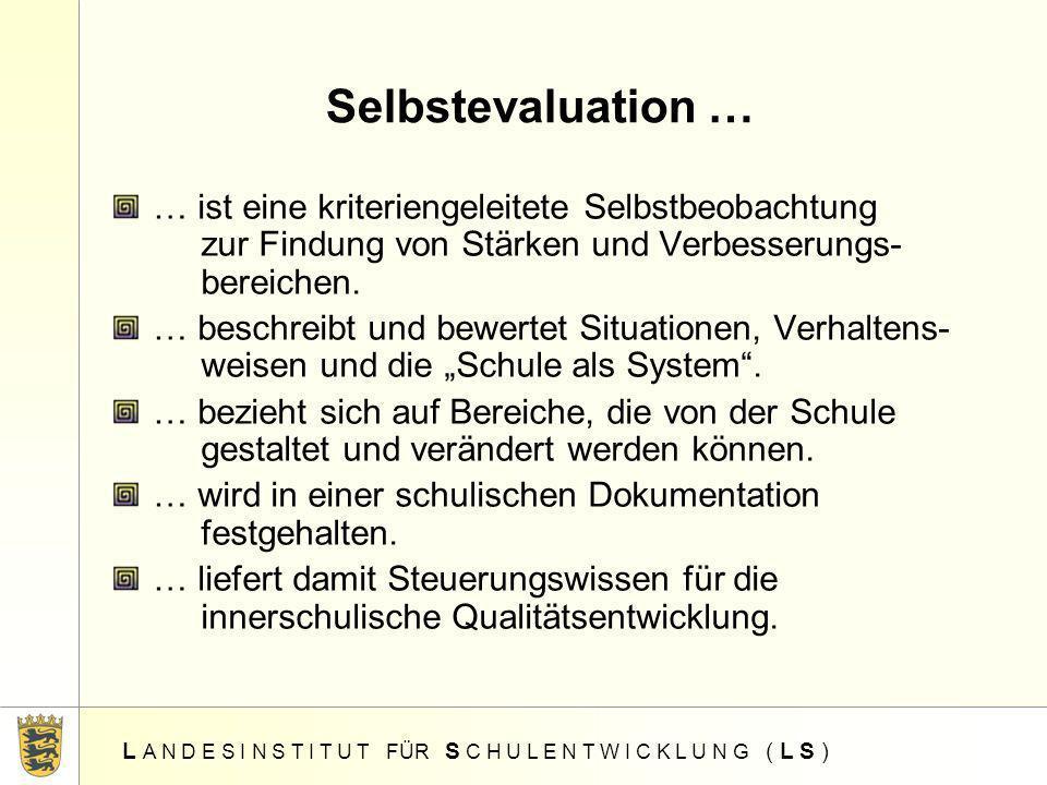 Selbstevaluation …… ist eine kriteriengeleitete Selbstbeobachtung zur Findung von Stärken und Verbesserungs- bereichen.