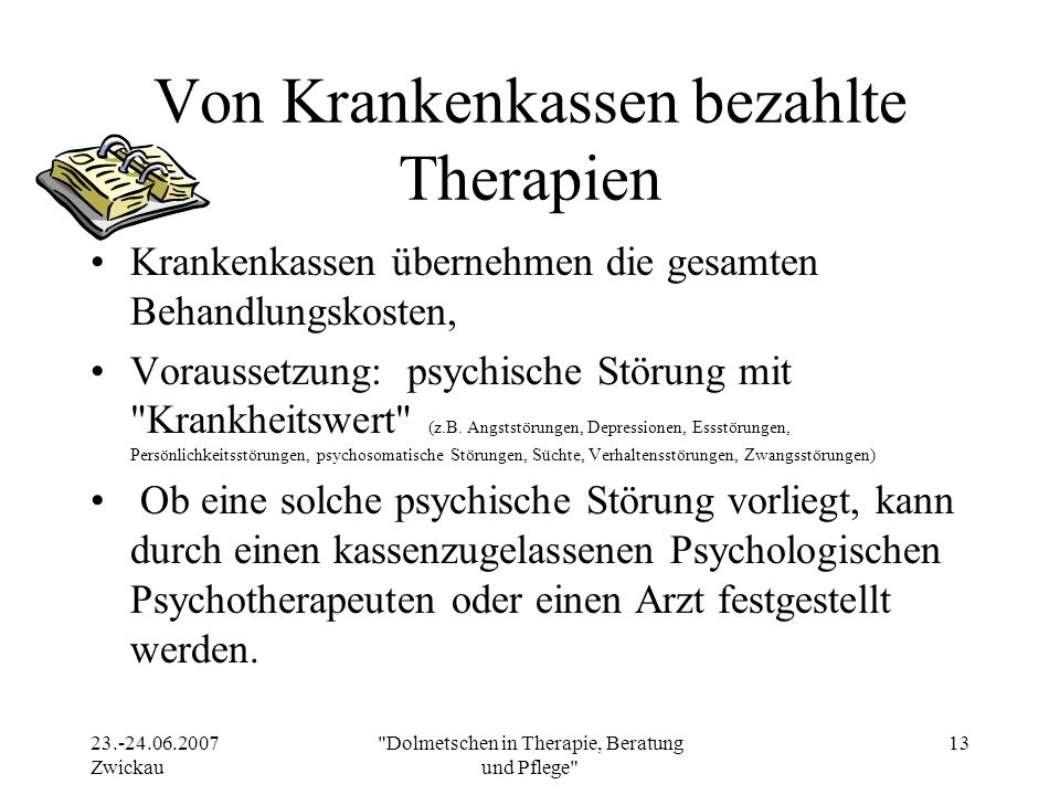 Von Krankenkassen bezahlte Therapien