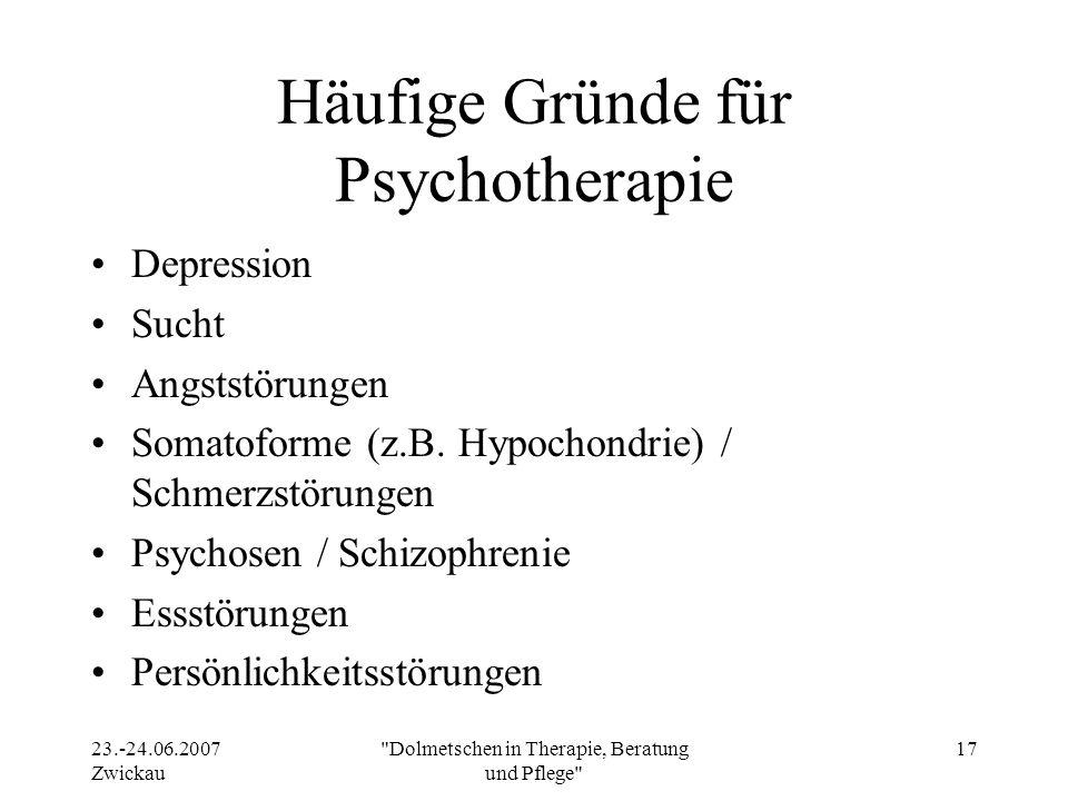 Häufige Gründe für Psychotherapie