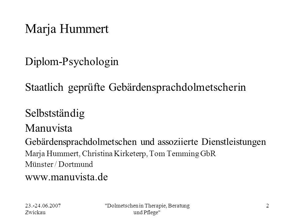 Dolmetschen in Therapie, Beratung und Pflege