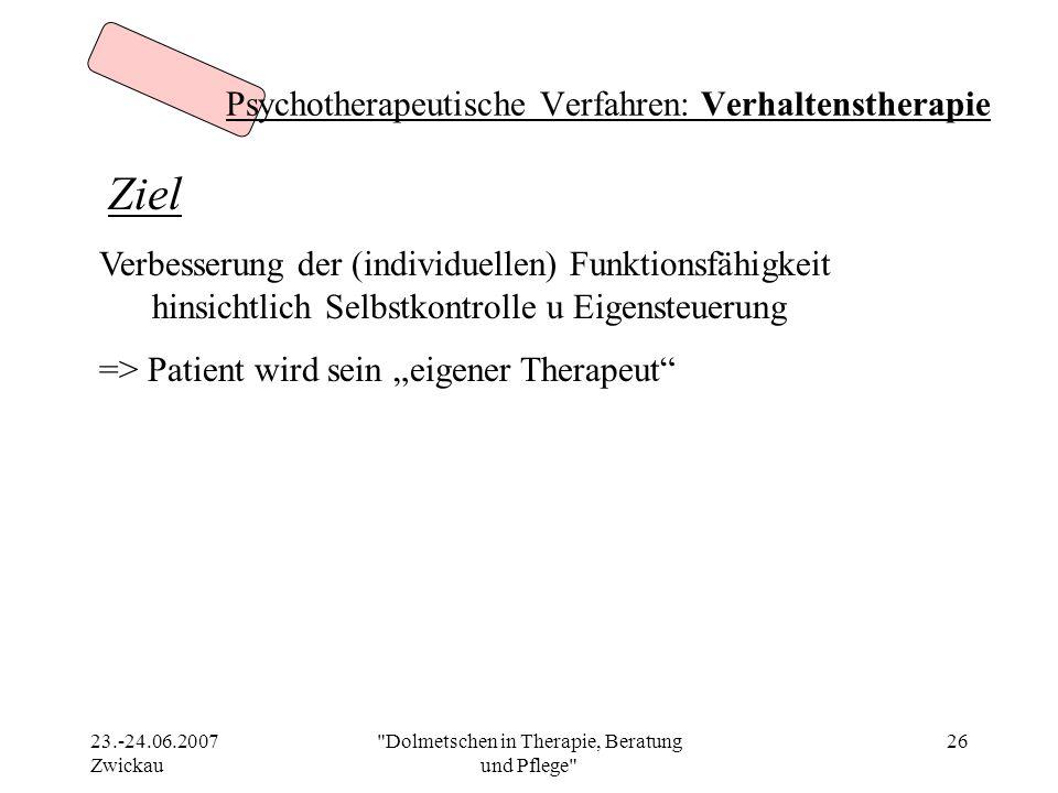 Psychotherapeutische Verfahren: Verhaltenstherapie