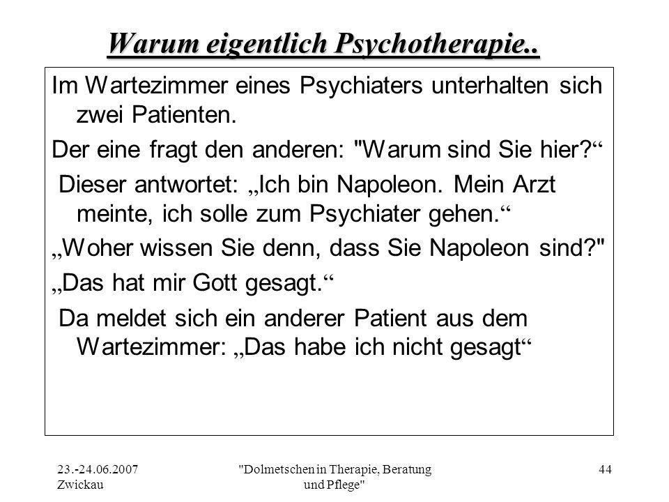 Warum eigentlich Psychotherapie..