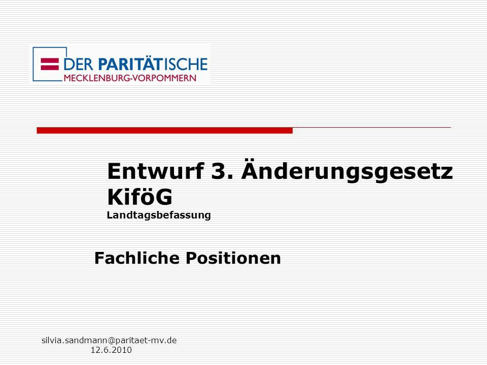 Entwurf 3. Änderungsgesetz KiföG Landtagsbefassung