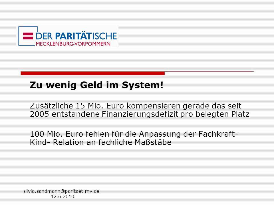 Zu wenig Geld im System! Zusätzliche 15 Mio. Euro kompensieren gerade das seit 2005 entstandene Finanzierungsdefizit pro belegten Platz.