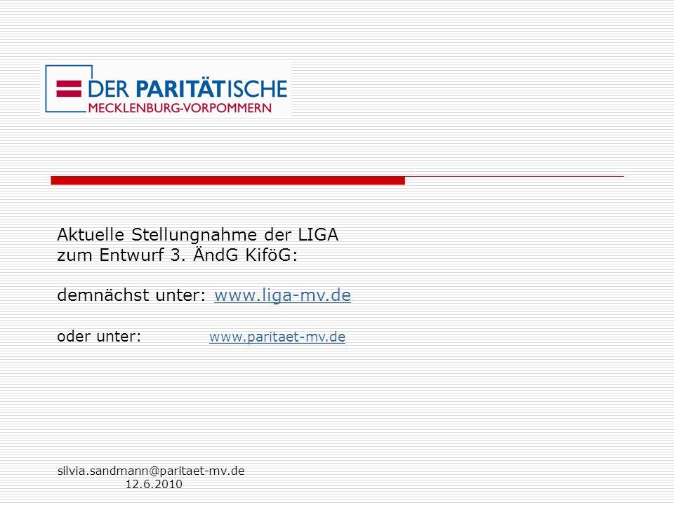 Aktuelle Stellungnahme der LIGA zum Entwurf 3. ÄndG KiföG: